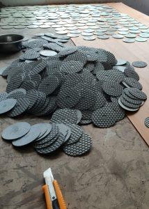 Stone abrasive processing workshop