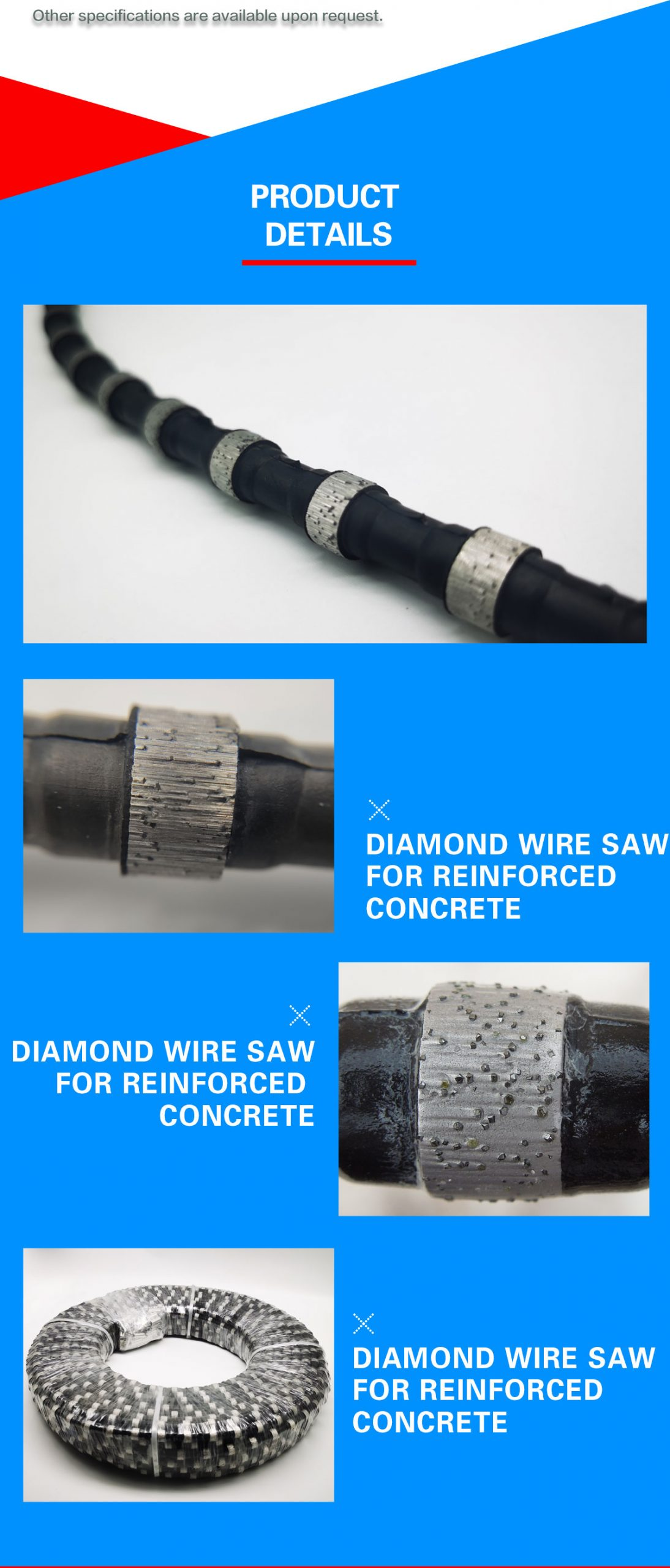 Reinforced concrete cutting wire saw