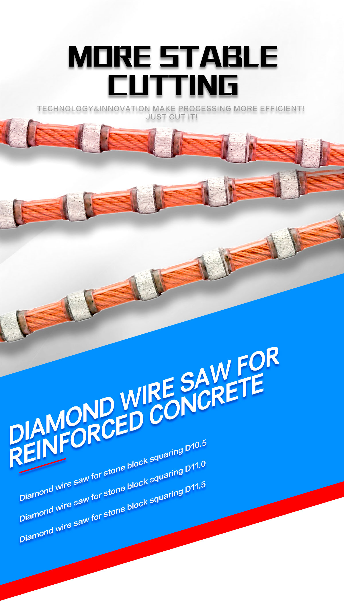 diamond wire saw for block squaring