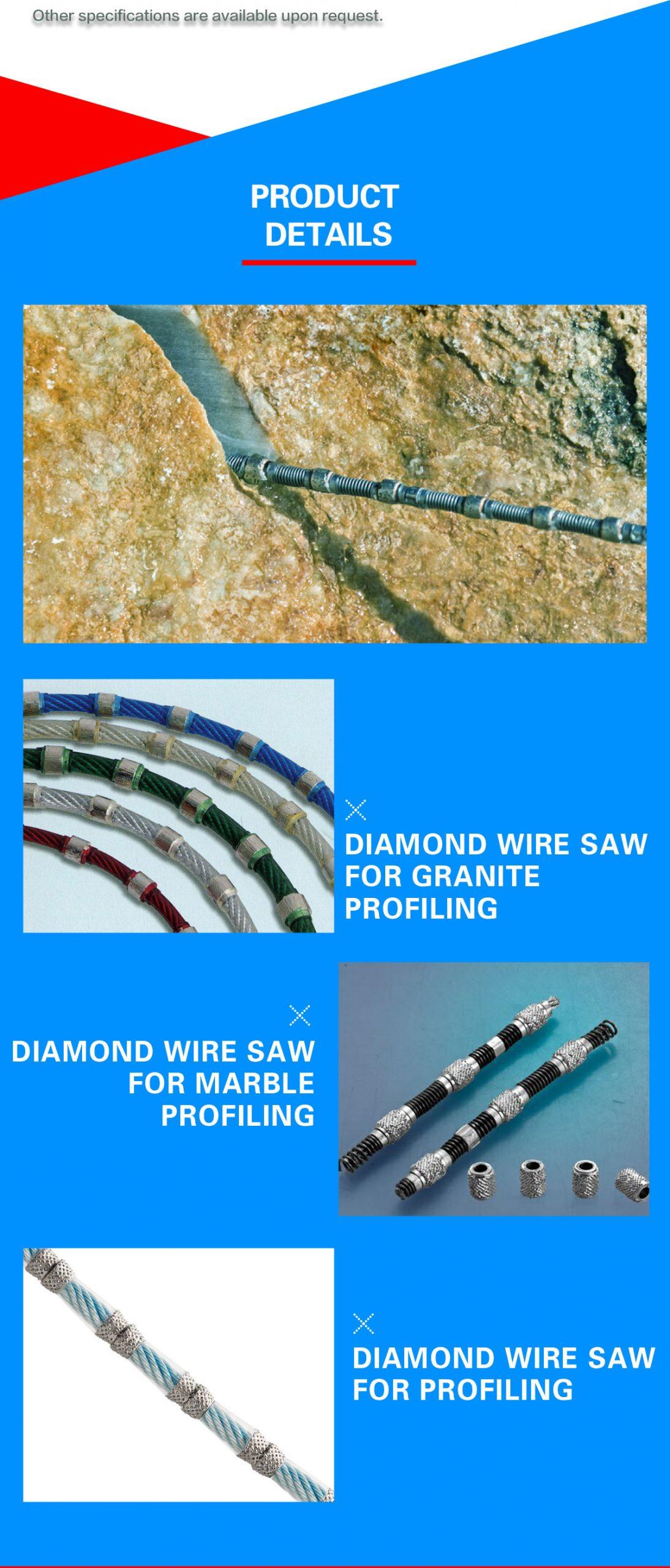 Sintered diamond wrie saw, vacuum brazed diamond wire saw for profiling