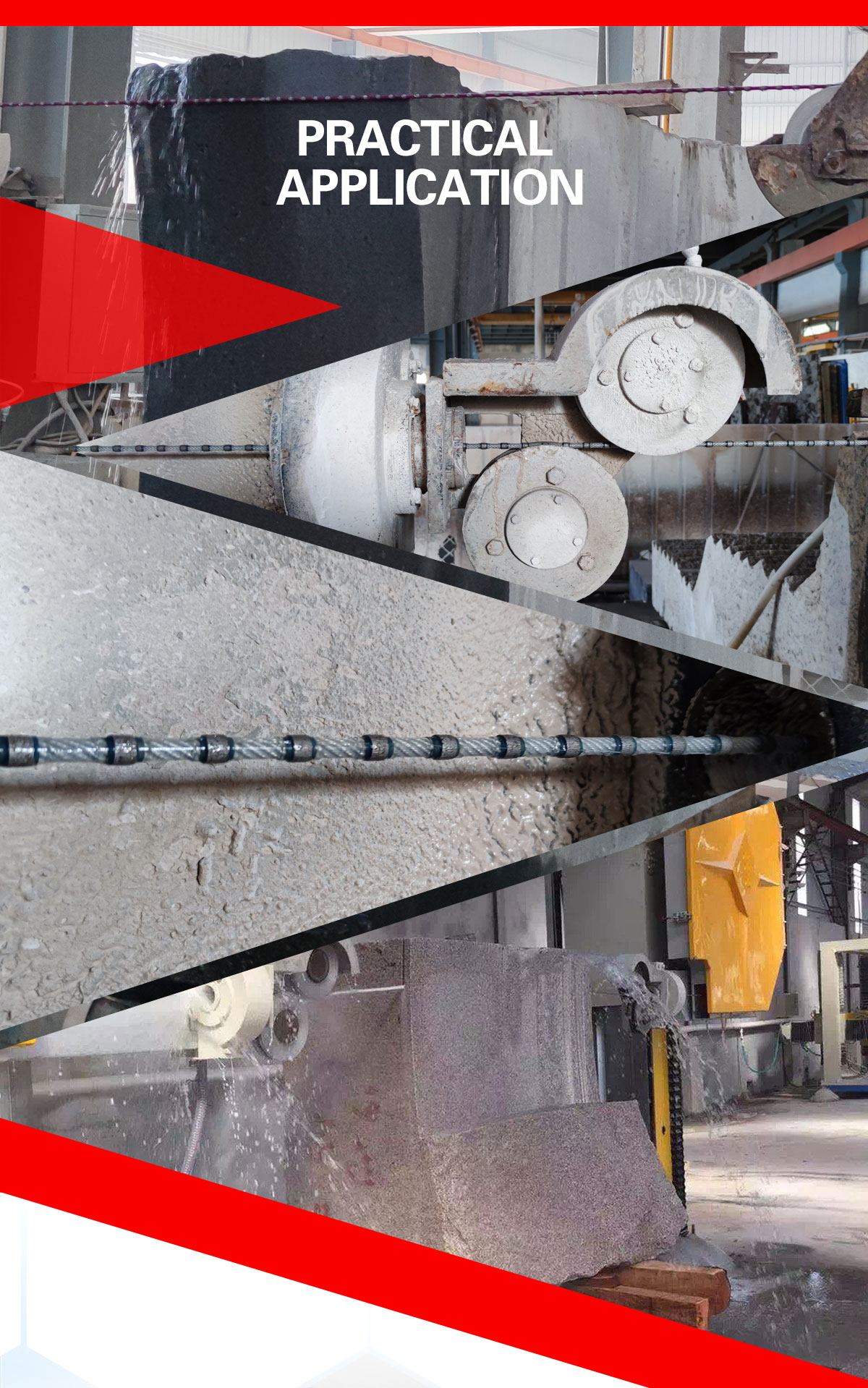 wire saw for block cutting and squaring, square wire saw rope