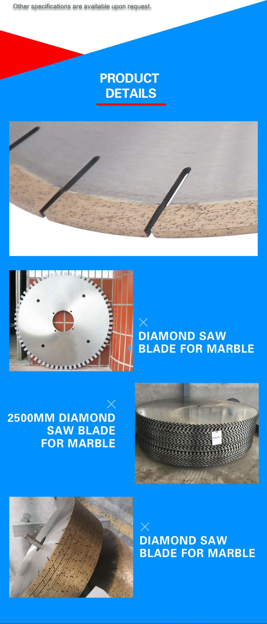 Diamond saw blade for marble block and edge cutting