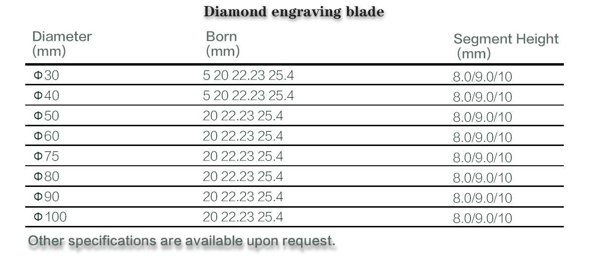 diamond engraving tools for stone processing